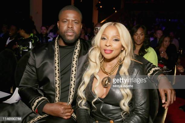 "Winston Duke and Mary J. Blige attend the premiere of ""The Remix: Hip Hop x Fashion"" at Tribeca Film Festival at Spring Studios on May 02, 2019 in..."