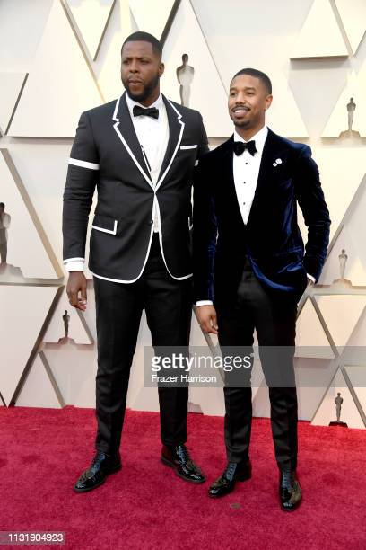 Winston Duke and Michael B Jordan attend the 91st Annual Academy Awards at Hollywood and Highland on February 24 2019 in Hollywood California