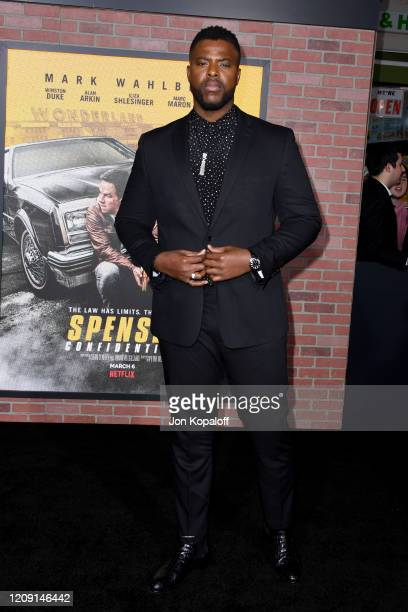 "Winston Duke attends the Premiere of Netflix's ""Spenser Confidential"" at Regency Village Theatre on February 27, 2020 in Westwood, California."