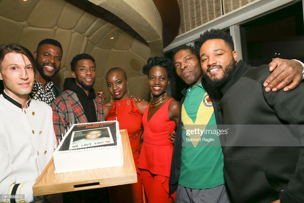 Winston Duke, Chadwick Boseman, Danai Gurira, Lupita Nyong'o, Issach De Bakole, and Ryan Coogler pose for a picture during the Danai x One x Love Our Girls celebration at The Top of The Standard on February 12, 2018 in New York City.