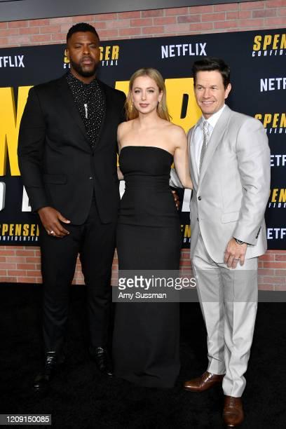 Winston Duke Iliza Shlesinger and Mark Wahlberg attend the Premiere of Netflix's Spenser Confidential at Regency Village Theatre on February 27 2020...