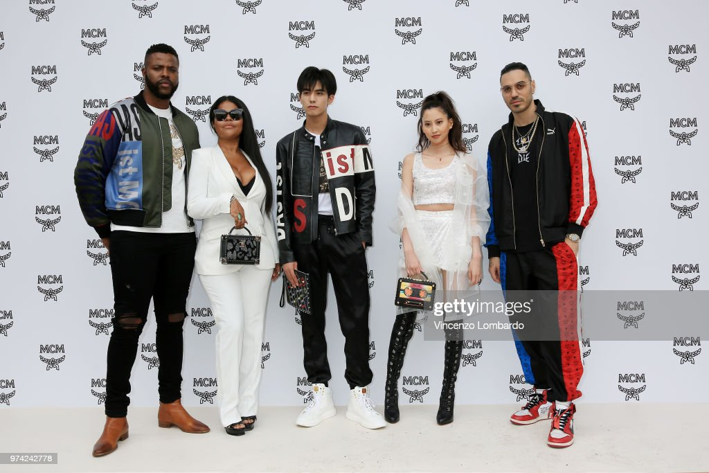 Winston Duke, Misa Hylton, Song Weilong, Mayuko Kawakita and Marracash attend the MCM Fashion Show Spring/Summer 2019 during the 94th Pitti Immagine Uomo on June 13, 2018 in Florence, Italy.