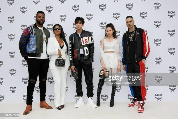 Winston Duke Misa Hylton Song Weilong Mayuko Kawakita and Marracash attend the MCM Fashion Show Spring/Summer 2019 during the 94th Pitti Immagine...