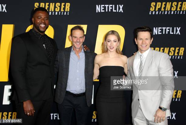 Winston Duke Peter Berg Iliza Shlesinger and Mark Wahlberg attend the Netflix Premiere Spenser Confidential at Westwood Village Theatre on February...