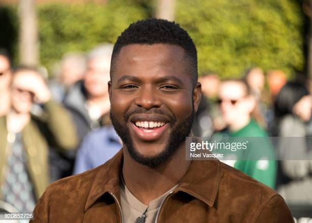 Winston Duke visits Extra at Universal Studios Hollywood on February 19 2018 in Universal City California