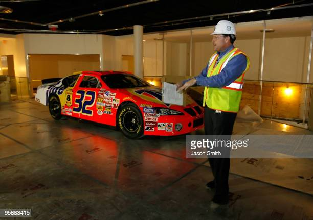 Winston Kelley NASCAR Hall of Fame Executive Director speaks with the media while touring the NASCAR Hall of Fame during the NASCAR Sprint Media Tour...