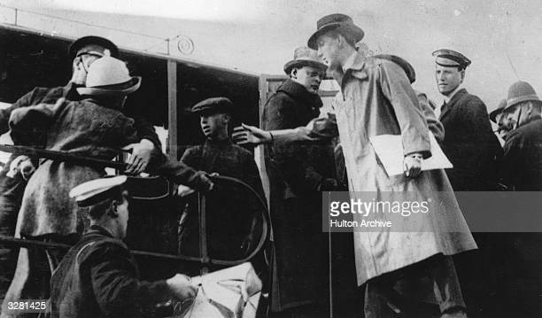 Winston Leonard Spencer Churchill First Lord of the Admiralty is attacked by a suffragette in Aberdeen