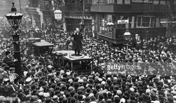 Winston Leonard Spencer Churchill First Lord of the Admiralty Nobel Prize winner for Literature and Prime Minister speaking in Manchester