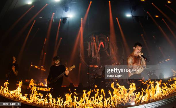 Winston McCall Ben Gordon Luke Kilpatrick Jeff Ling and Jia O'Connor of Parkway Drive perform at Manchester Apollo on January 29 2019 in Manchester...