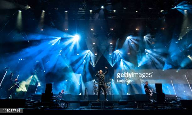 Winston McCall Ben Gordon Luke Kilpatrick Jeff Ling and Jia O'Connor of Parkway Drive perform on stage during Bloodstock Festival 2019 at Catton Hall...
