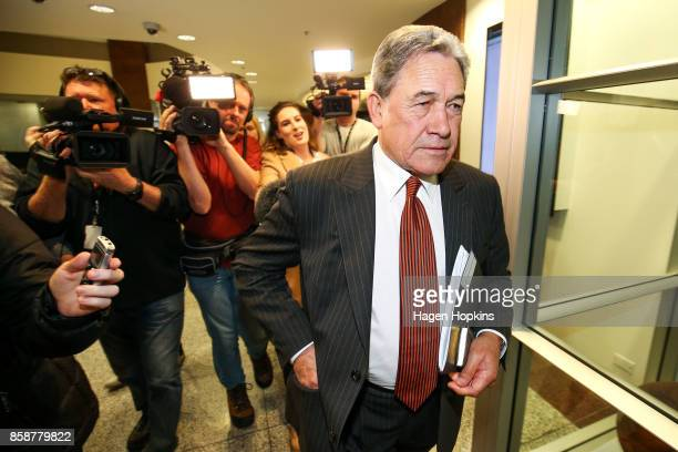 Winston Peters makes his way to a meeting with the National Party at Parliament on October 8 2017 in Wellington New Zealand The general election was...
