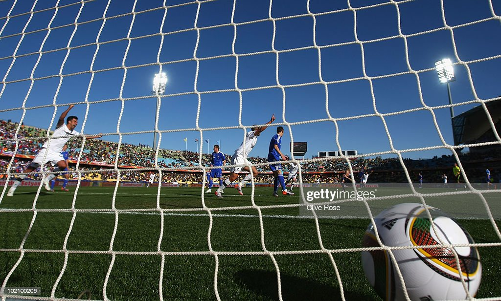 Winston Reid of New Zealand celebrates scoring the first goal for his team during the 2010 FIFA World Cup South Africa Group F match between New Zealand and Slovakia at the Royal Bafokeng Stadium on June 15, 2010 in Rustenburg, South Africa.
