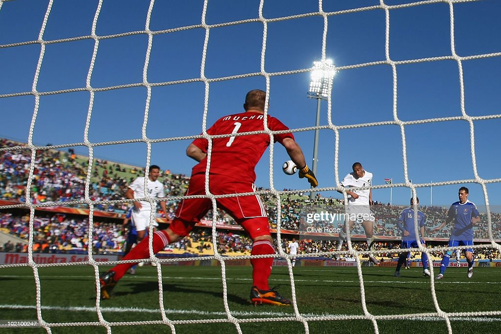 Winston Reid of New Zealand scores the first goal for his team during the 2010 FIFA World Cup South Africa Group F match between New Zealand and Slovakia at the Royal Bafokeng Stadium on June 15, 2010 in Rustenburg, South Africa.
