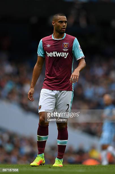 Winston Reid of West Ham during the Premier League match between Manchester City and West Ham at Etihad Stadium on August 28 2016 in Manchester...