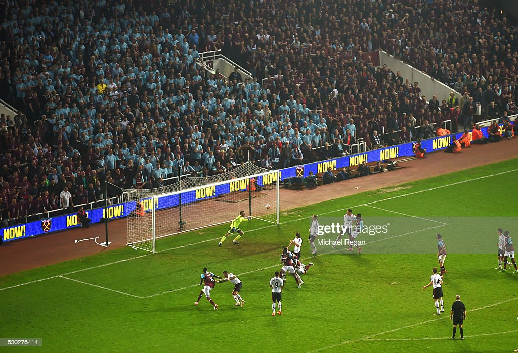 Winston Reid of West Ham United (obscured) scores their third goal during the Barclays Premier League match between West Ham United and Manchester United at the Boleyn Ground on May 10, 2016 in London, England. West Ham United are playing their last ever home match at the Boleyn Ground after their 112 year stay at the stadium. The Hammers will move to the Olympic Stadium for the 2016-17 season.