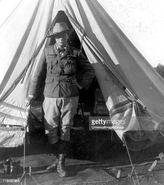Winston Spencer Churchill British statesman as a war correspondent during the Second Boer War Bloemfontein South Africa 1900 Churchill standing at...