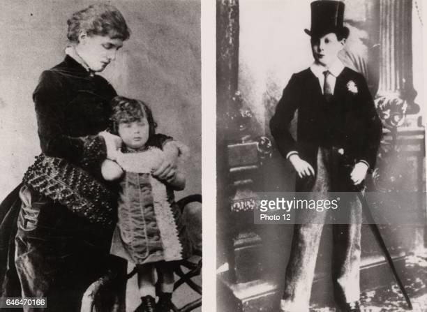 Winston Spencer Churchill British statesman Churchill aged 4 held by his mother Lady Randolph Churchill Right Churchill at 12 in uniform of Harrow...