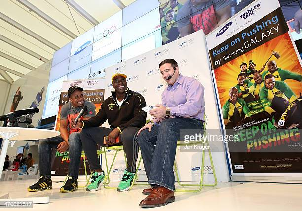 Winston Watts and Marvin Dixon Jamaica's 2man bobsleigh team address fans and media at a press conference in the Samsung Galaxy Studio during the...