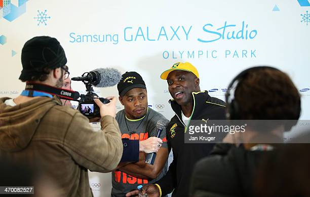 Winston Watts and Marvin Dixon Jamaica's 2man bobsleigh team conduct interviews with media at the Samsung Galaxy Studio during the Sochi 2014 Winter...