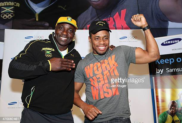 Winston Watts and Marvin Dixon Jamaica's 2man bobsleigh team pose at the Samsung Galaxy Studio during the Sochi 2014 Winter Olympics on February 18...