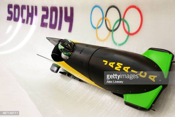 Winston Watts of Jamaica pilots a bobsleigh practice run ahead of the Sochi 2014 Winter Olympics at the Sanki Sliding Center on February 6 2014 in...