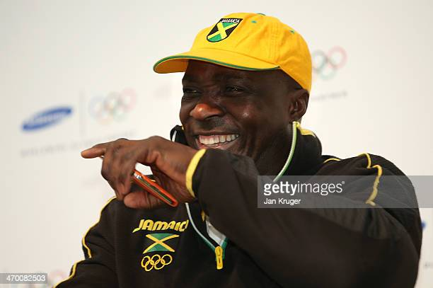Winston Watts of Jamaica's 2man bobsleigh team conducts an interview with media at the Samsung Galaxy Studio during the Sochi 2014 Winter Olympics on...