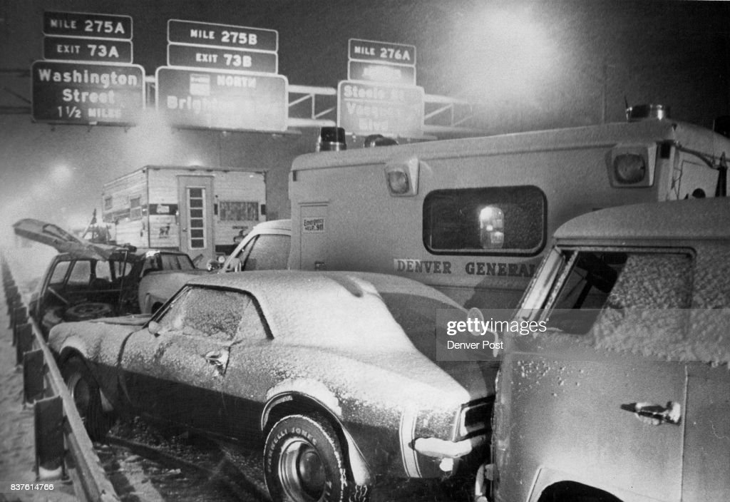 Winter accident on Westbound Interstate 70 between Colorado Blvd