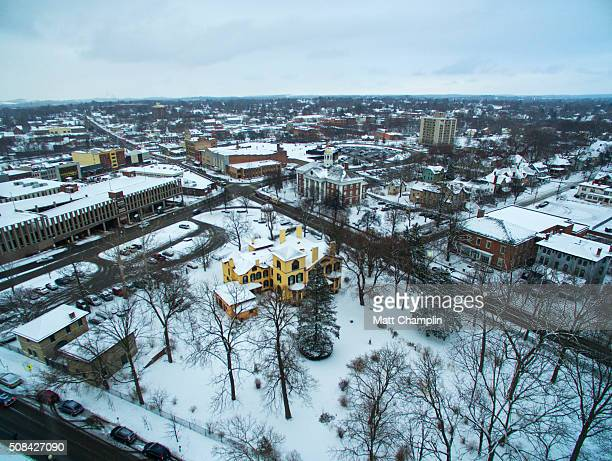 winter aerial of william h. sewards house in auburn, ny - lake auburn - fotografias e filmes do acervo
