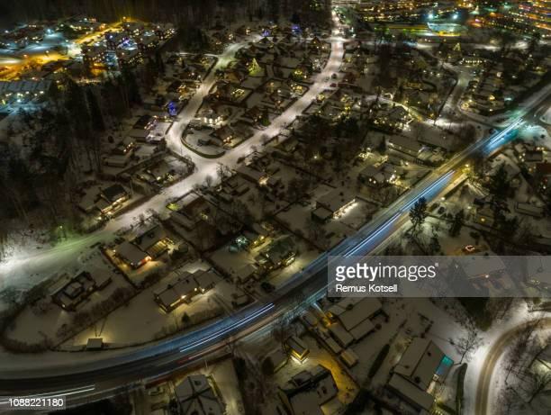 Vinter Flygfoto över en liten stad