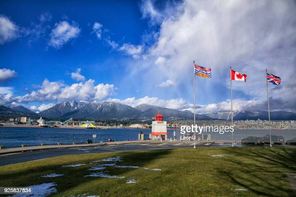 winter afternoon in stanley park, vancouver, canada - stanley park vancouver canada stock photos and pictures
