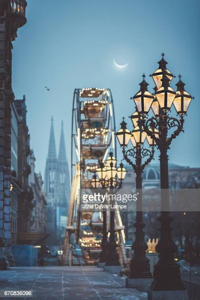 winter and magical scene in vienna, austria. - vienna austria stock pictures, royalty-free photos & images