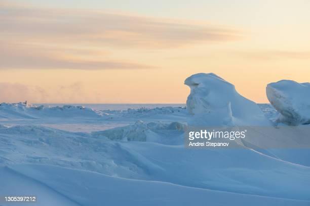 winter arctic landscape - bering sea stockfoto's en -beelden