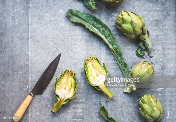 Winter Artichokes being prepared