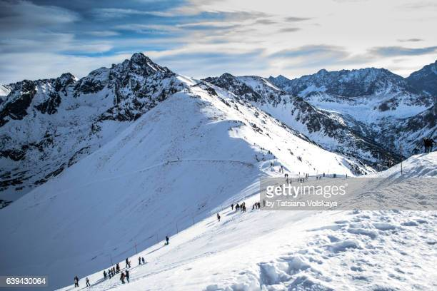 winter ascent of kasprowy wierh mountain, poland - zakopane stock pictures, royalty-free photos & images