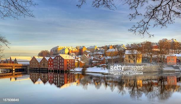 winter at bakklandet - trondheim - norway - trondheim stock pictures, royalty-free photos & images