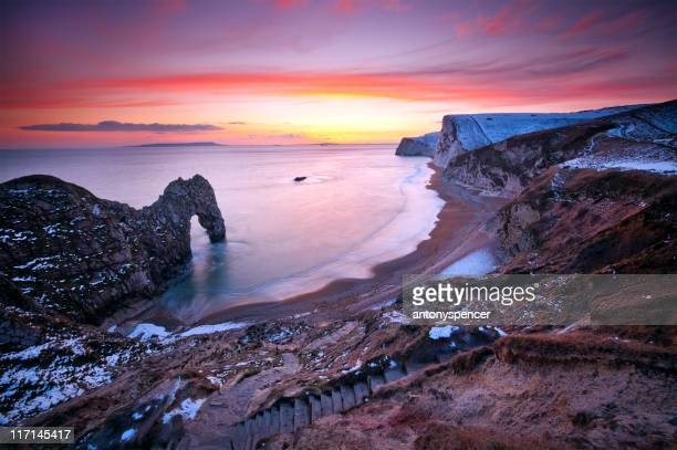 winter at durdle door. - southwest england stock photos and pictures