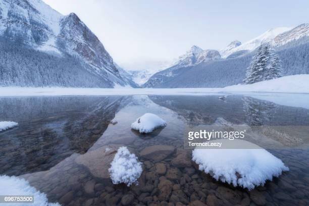 winter at lake louise, banff national park - lake louise lake stock photos and pictures