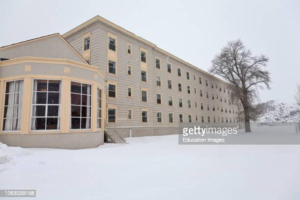 Winter at Mammoth Hot Springs Hotel in Yellowstone National Park Wyoming