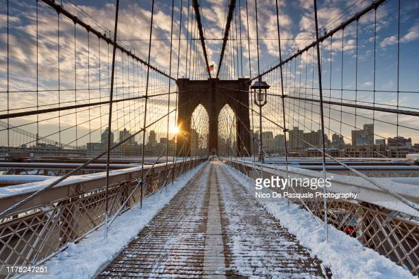 winter at the brooklyn bridge - nico de pasquale photography stock pictures, royalty-free photos & images