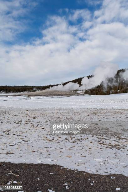 Winter at Upper Geyser Basin in Yellowstone National Park WY