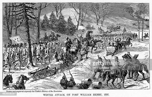 Winter Attack on Fort William Henry New York State The British fort being attacked by the French Illustration from Popular history of the Dominion of...