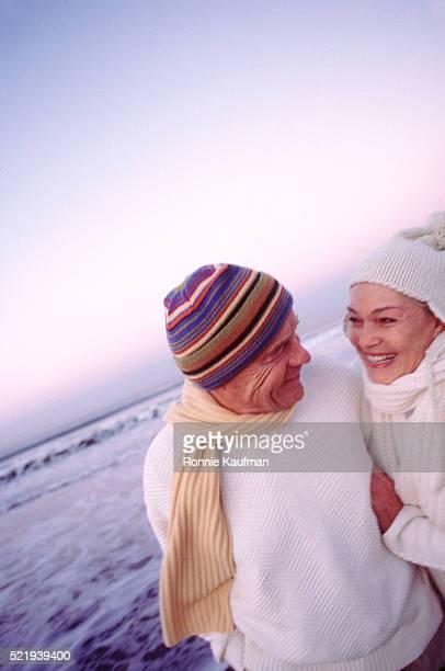 Winter beach romance