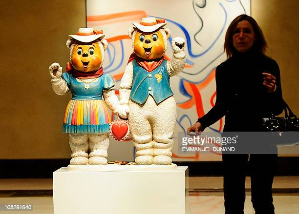 'Winter Bears' by Jeff Koons is on display at Christie's during a press preview of the upcoming Post War and Contemporary Art sale at Christie's in...