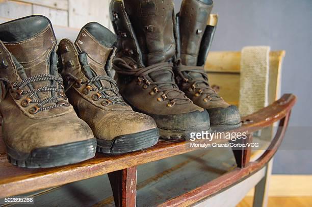 Winter boots on a shelf