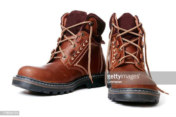 winter boots - brown shoe stock photos and pictures
