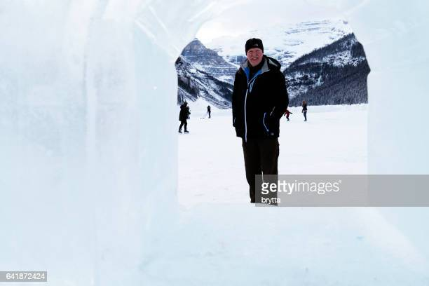 winter breaks - chateau lake louise stock photos and pictures