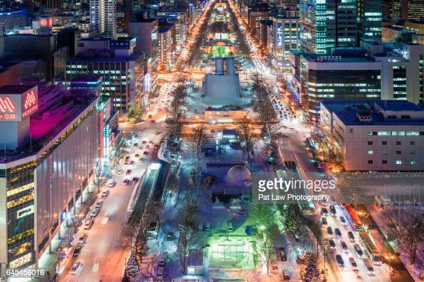 winter breaks - sapporo snow festival stock photos and pictures