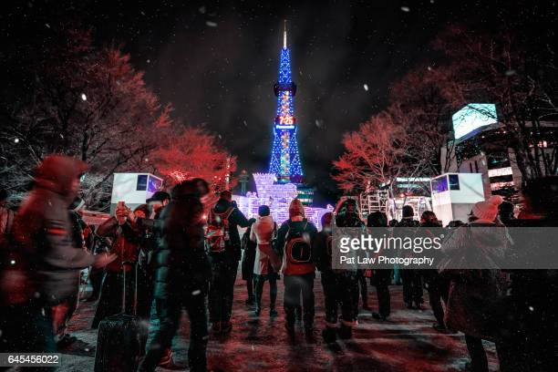 winter breaks - sapporo festival stock pictures, royalty-free photos & images