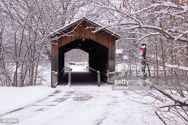 winter bridge at holiday - covered bridge stock photos and pictures