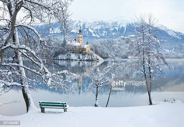 winter by the lake bled - slovenia stock pictures, royalty-free photos & images